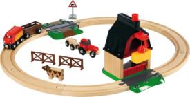 BRIO World 33719 Bahn Bauernhof Set Holzeisenbahn mit Bauernhof, Tieren und Holzschienen Kleinkinderspielzeug