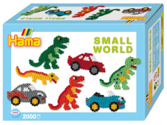 HAMA Bügelperlen Midi - Geschenkpackung kleine Welt Dinosaurier & Auto blau 2000