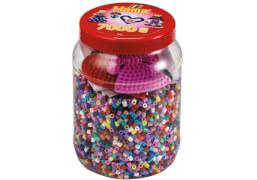 HAMA Dose pink mit 2 Platten (kleines Herz, kleine Prinzessin) und 7.000 Perlen